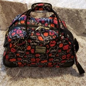 Betsey Johnson Carry-On Rolling Duffel Bag Kisses